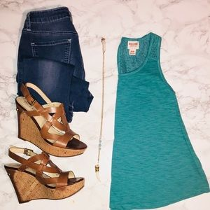 Turquoise Tank with Lace